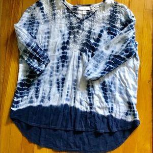 Dress Barn tie dye hi lo navy/white size XL